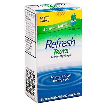Refresh tears lubricant eye drops, moisturizing relief, 2 ea