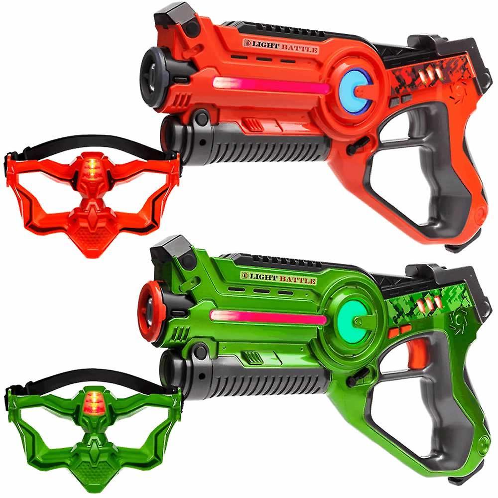 2 laserpistolen + 2 VIP maskers (groen, oranje)