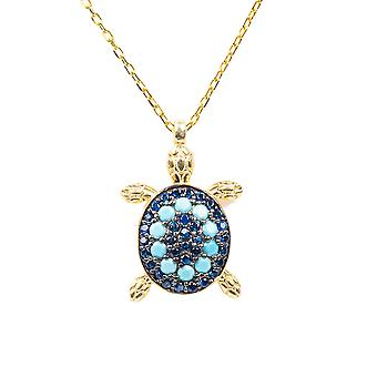 Turquoise Blue Turtle Pendant Necklace CZ Gold 925 Silver Chain Short Animal Sea