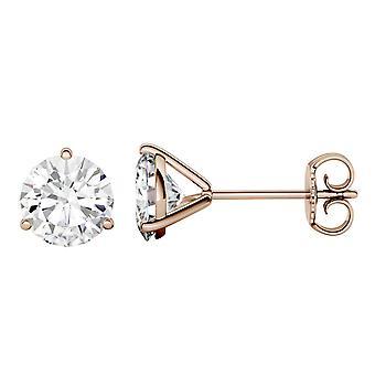 14K Rose Gold Moissanite by Charles & Colvard 6.5mm Round Stud Earrings, 2.00cttw DEW