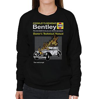 Crowleys Demonic Bentley Haynes Manual Good Omens Women's Sweatshirt