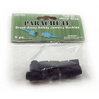 Parachute Cord Safety Buckles 5mm 5/Pkg-Black