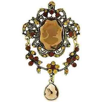 Brooches Store Vintage Gold Filigree and Topaz Crystal Cameo Drop Brooch