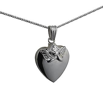 Silver 25x22mm handmade Embossed Angel Heart shaped Memorial Locket with a curb Chain 24 inches