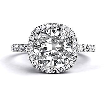 Moissanite Ring Forever One 2.20 CTW 7.00MM with Diamonds 14K White GoldMicro Pave Cathedral Cushion
