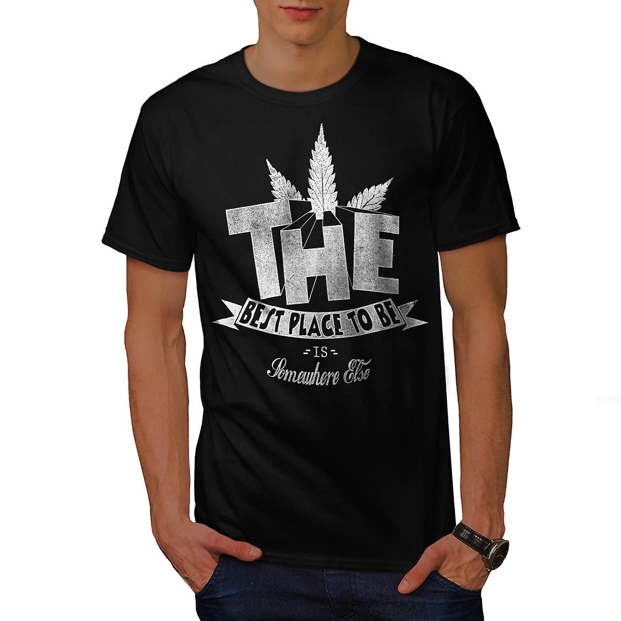 Best Place Weed Pot Rasta Men Black T-shirt | Wellcoda