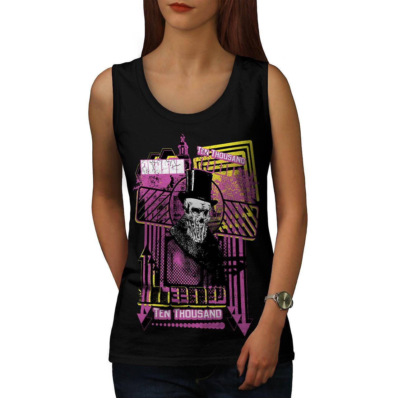 Ten Thousand Dollar Skull Women Black Tank Top | Wellcoda