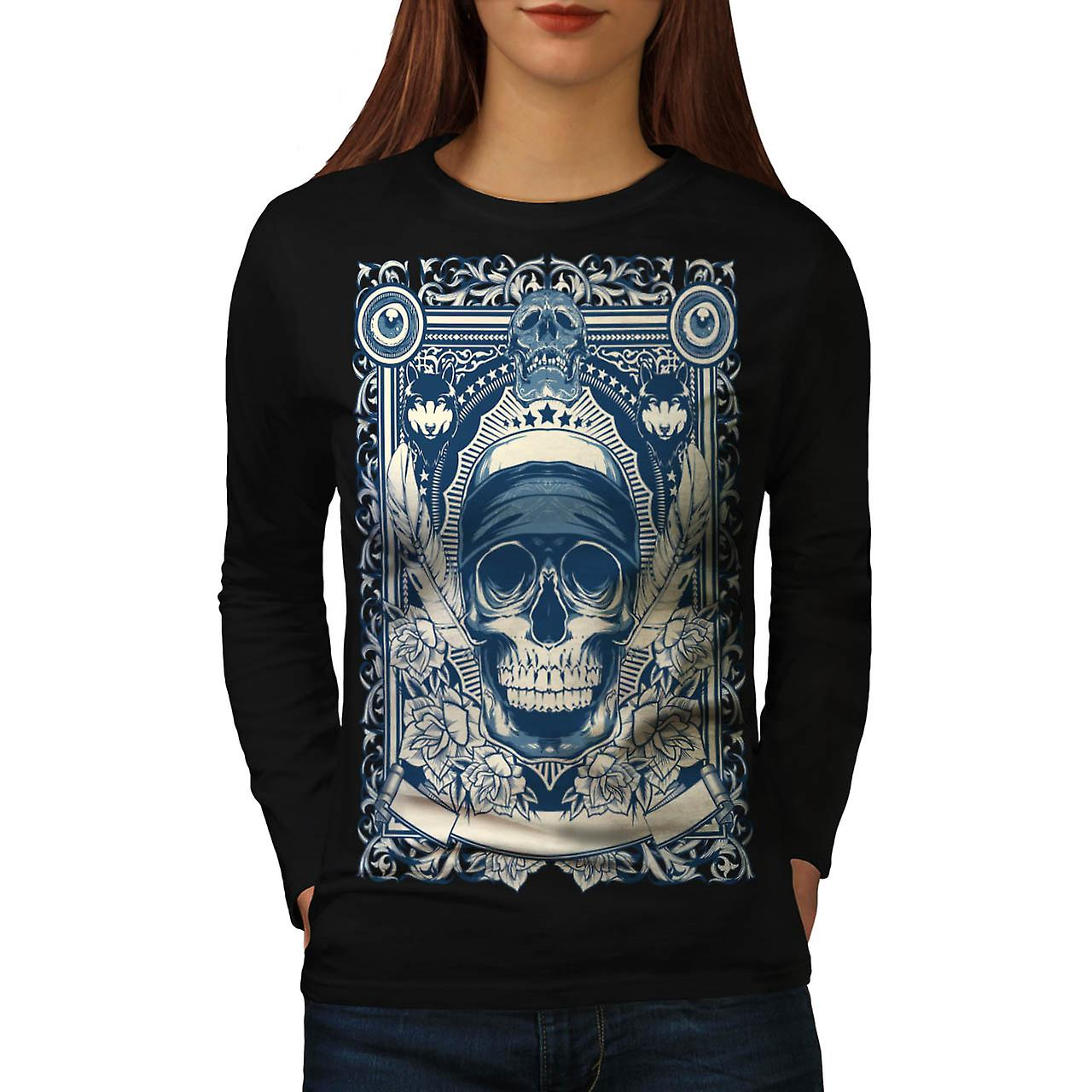 Skull Gangster Head Burial Card Women Black Long Sleeve T-shirt | Wellcoda