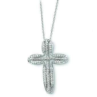 Argent sterling April Cubic Zirconia Cross Necklace - 18 pouces
