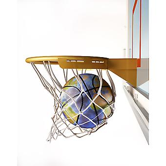 3D-gjengivelse av basketball med jordkloden tekstur faller i en basketball bøyle plakatutskrift