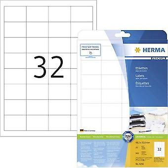 Herma 4200 Labels (A4) 48.3 x 33.8 mm Paper White 800 pc(s) Permanent All-purpose labels Inkjet, Laser, Copier
