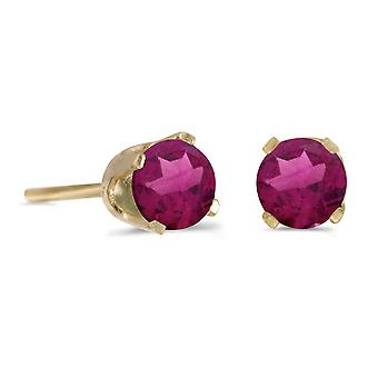 14k Yellow Gold 4 mm ronde Rhodolite Garnet Stud Earrings