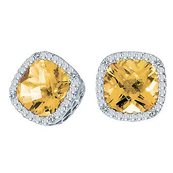 14k wit gouden kussen Citrien cut en Diamond Earrings