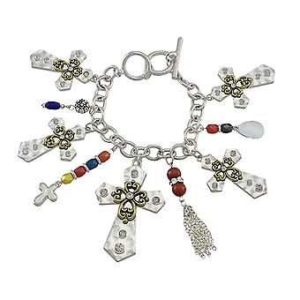 Silver Tone Cross Charm Bracelet with Toggle Clasp