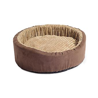 Sleepy Paws Timberwolf Oval Bed Faux Suede 60cm