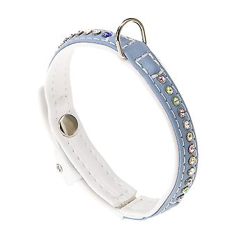 Lux C15/28 Eco Synthetic Leather Collar Blue/white 15mm X28cm (Pack of 2)