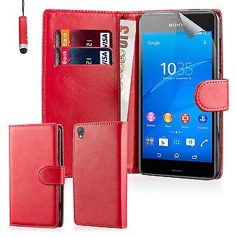 Book Wallet PU Leather Case Cover for Sony Xperia Z3 including screen protector & stylus - Red