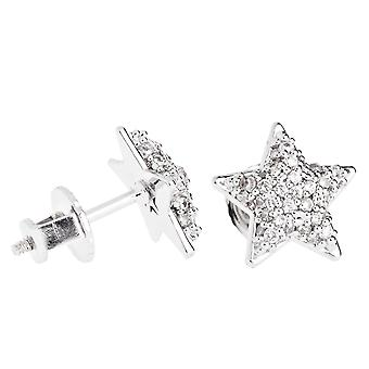 Iced out bling micro pave earrings - STAR 10 mm