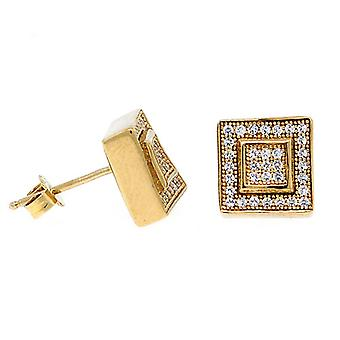 Sterling 925 Silber MICRO PAVE Ohrstecker - LAYER 9mm gold