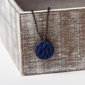 Håndlavede marineblå Strik mønster kæde vedhæng