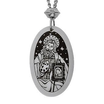Handmade Saint Luke Oval Shaped Porcelain Pendant ~ 18+4 inch extender Chain