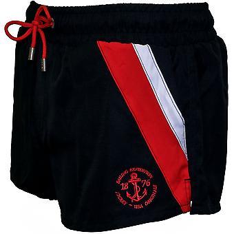 Ruotini di appoggio lato striscia atletico Swim Shorts, Navy con rosso