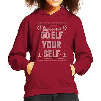 Go Elf Yourself Christmas Knit Pattern Kid's Hooded Sweatshirt