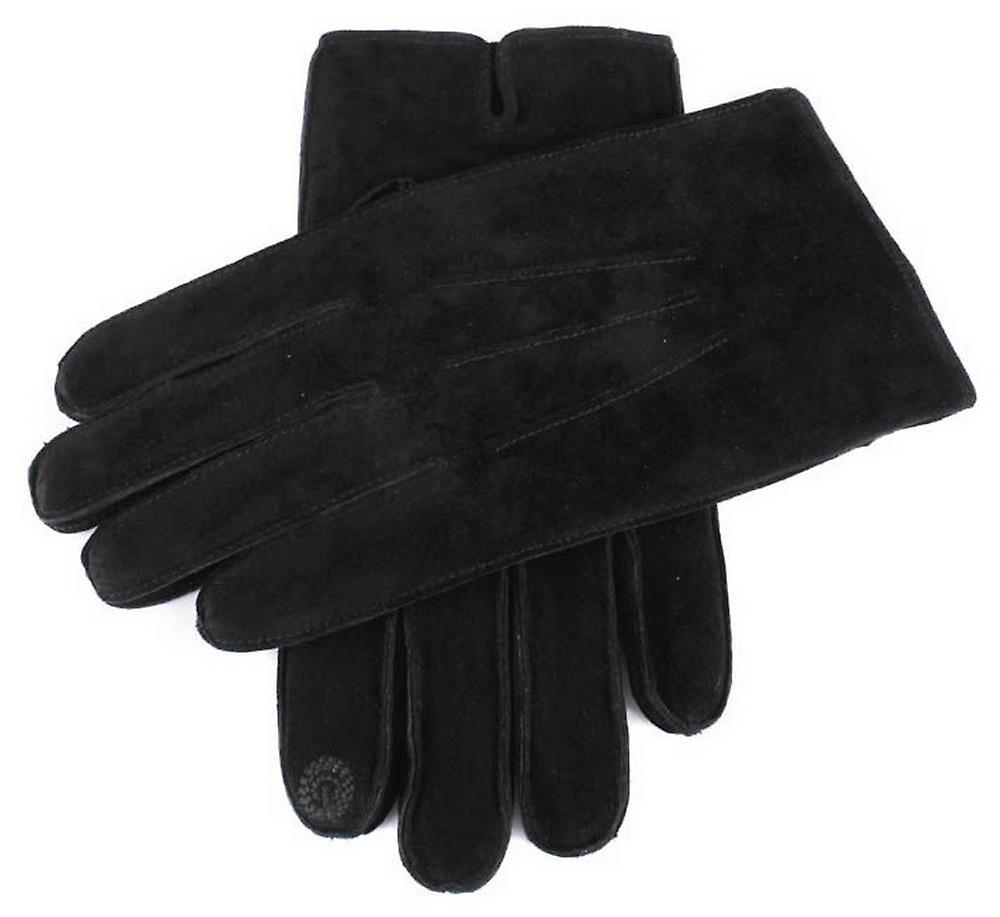 Dents Pigsuede Gloves with Touchscreen Fingertips - Black