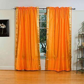 Pumpkin Rod Pocket  Sheer Sari Curtain / Drape / Panel  - Pair