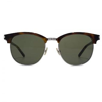 Saint Laurent SL 108 Clubmaster Style Sunglasses In Havana