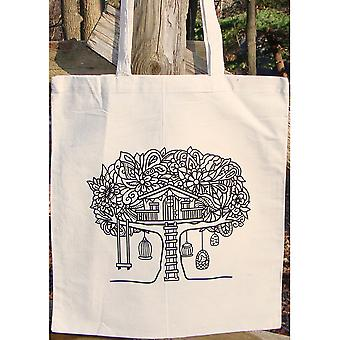 Stamped Canvas Tote To Color-Tree House 98106T