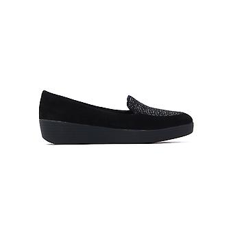 Women's Sparkly Sneaker Loafers - Black