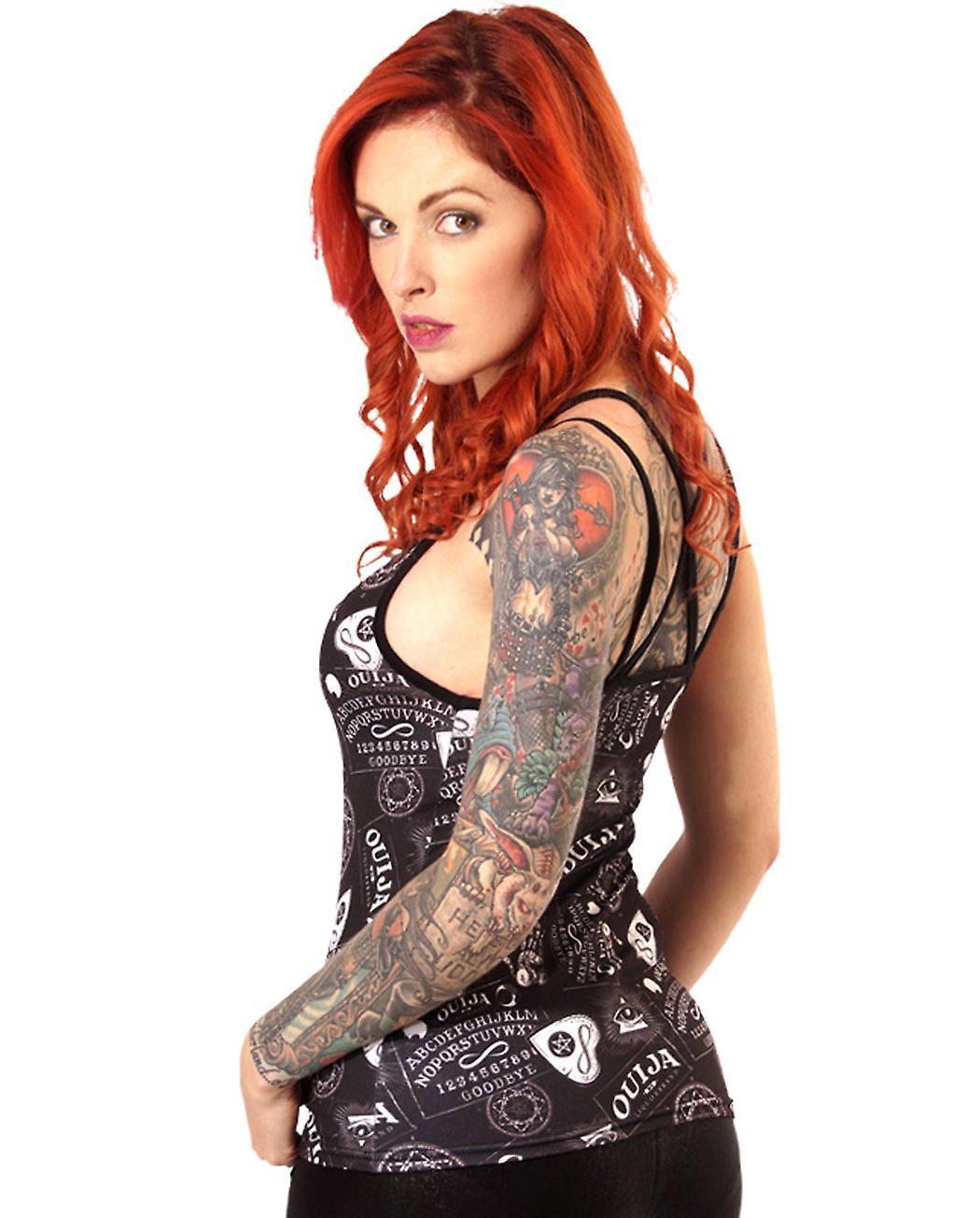 Liquor Brand - OUIJA PATTERN - Women's Shoulder Strap Vest Top, Black