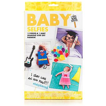 Novelty Baby Selfie Kit 12 Photo Props & 1 Wipe Off Pen Party Accessory