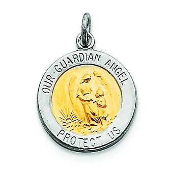 Sterling Silver Solid Satin Back Engravable Polished and satin Guardian Angel Charm - 2.0 Grams