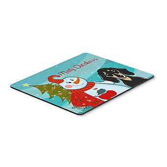 Snowman with Smooth Black and Tan Dachshund Mouse Pad, Hot Pad or Trivet