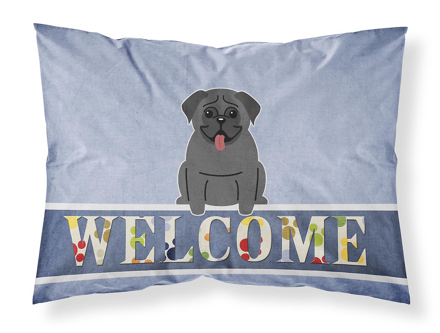 Standard Bienvenue Taie Tissu Pug D'oreiller Noir DH2IE9
