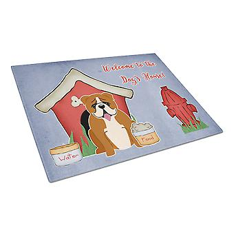 Dog House Collection English Bulldog Red White Glass Cutting Board Large