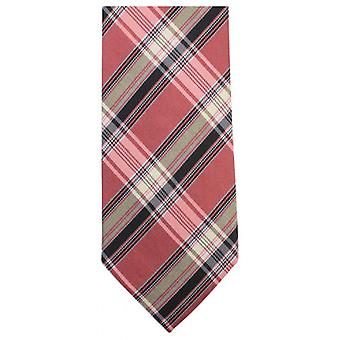 Knightsbridge Neckwear Luxury Checked Tie - Peach/Black