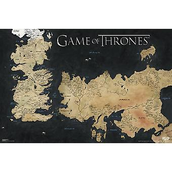 Game of Thrones Map Map of Weste Poster Poster Print