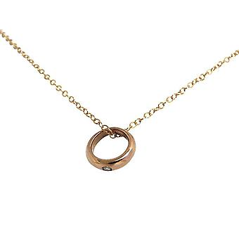 Gemshine - woman - child - necklace - christening ring - 925 Silver - Rose Gold - Diamond - brilliant - 45 cm