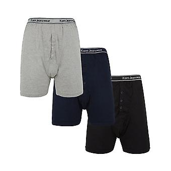 KAM 3 Pack Rib Boxer Shorts