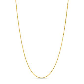 10K Fine Gold Wheat Chain Necklace (1mm)
