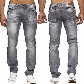 Men's Jeans Bleached Stone Washed Denim cotton Pant comfort regular fit new