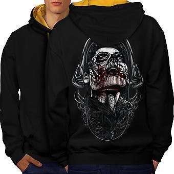 Skull Blood Men Black (Gold Hood)Contrast Hoodie Back | Wellcoda