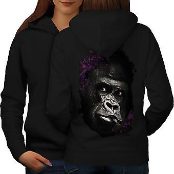 Smoking Monkey Face Women BlackHoodie Back | Wellcoda