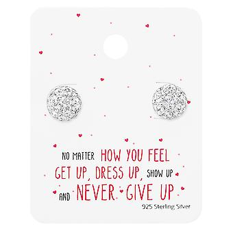 Round Ear Studs On Motivational Quote Card - 925 Sterling Silver Sets - W35885x