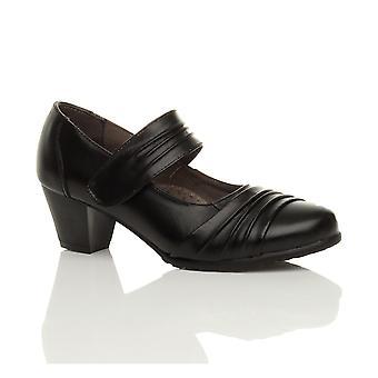 Ajvani womens mid heel comfort leather flexible grip sole hook & loop mary jane work court shoes