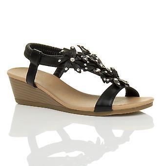 Ajvani womens baixa média salto Cunha slingback flor diamante sandálias de verão