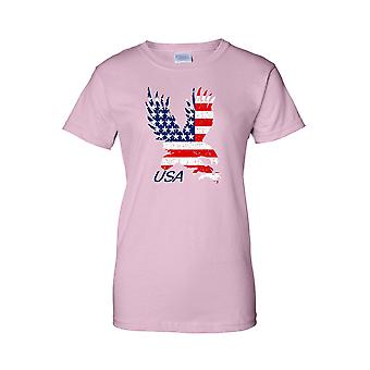 Women's USA Flag Juniors T-Shirt American Bald Eagle